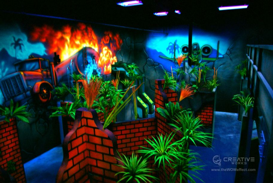Battle Ruins themed laser tag arena at Pins 'N Pockets