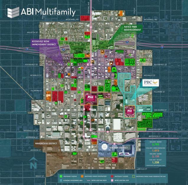 Downtown Phoenix Multifamily Development & Economic Corridor Map