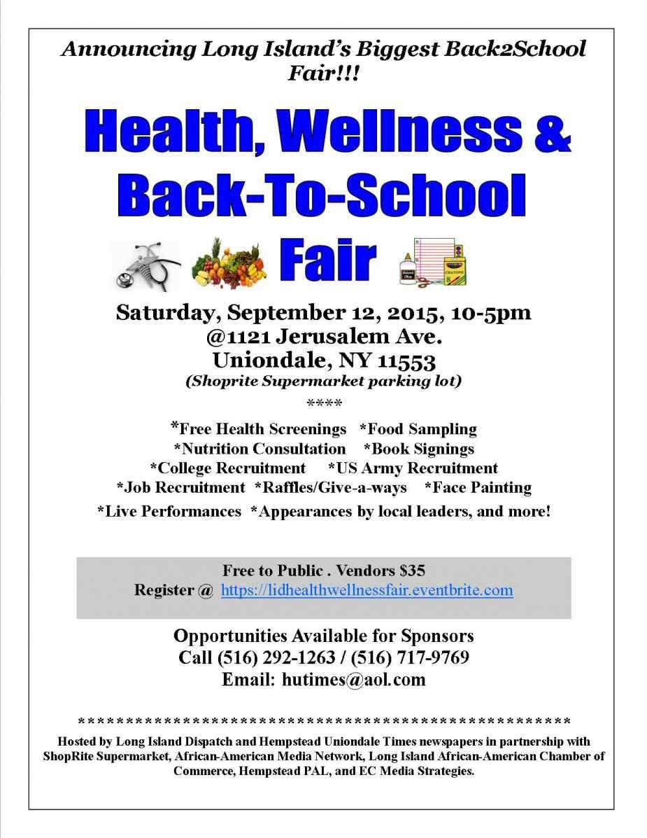 Health Wellness Fair and back to School Fair