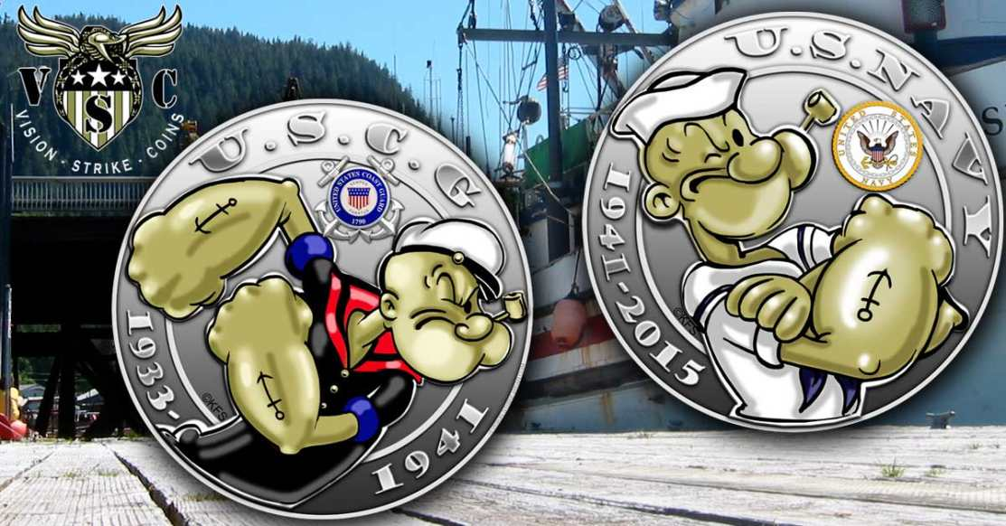 Popeye Navy and Coast Guard Coin