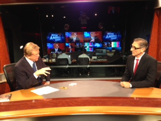 Nick Grovich on the set with Doug Llewelyn