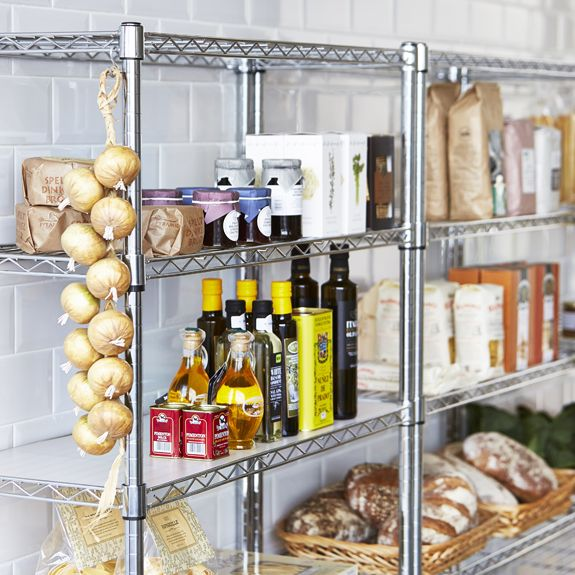 chrome kitchen storage racks pantry heaven chrome wire shelving shopfitting 5421