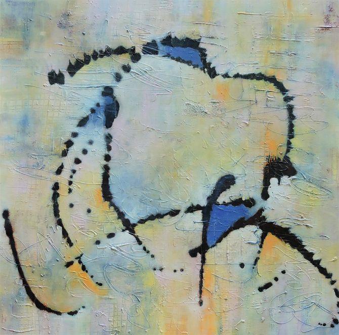 """Calypso, Acrylic & Mixed Media on Canvas, 36x36"""""""