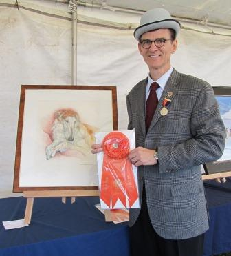 Juror Bill Secord with 2010 Best in Show winning artwork by Marion Krupp
