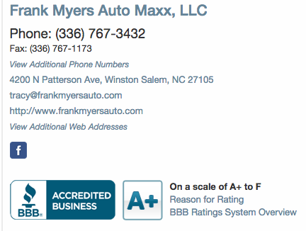 Frank Myers Auto Better Business Bureau