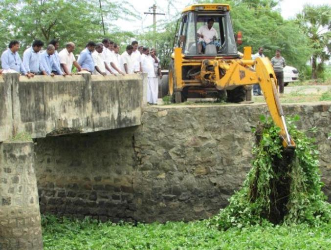 Desilting and Cleaning Work of Maruthur Melakkal Channel by Sterlite Copper