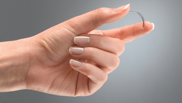 Essure permanent birth control coils are inserted into the fallopian tubes.