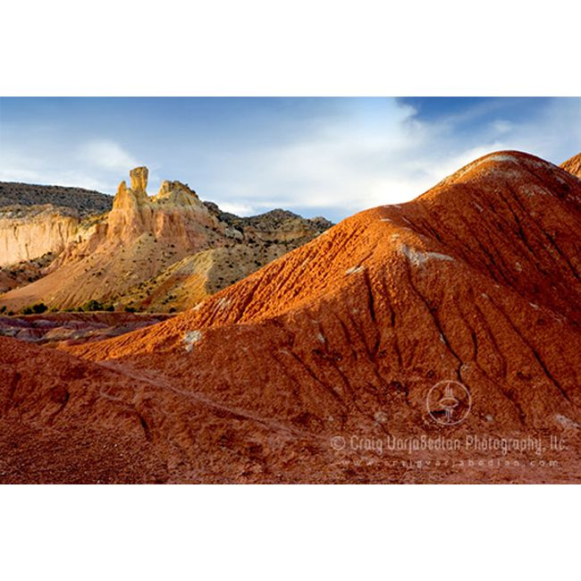 Chimney Rock and the Red Hills of Ghost Ranch, NM, 2007 by ©Craig Varjabedian