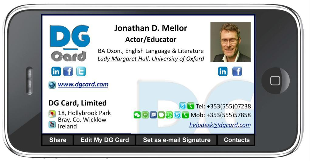 dg card virtual business card keeps contacts always in reach without clutter - Virtual Business Card