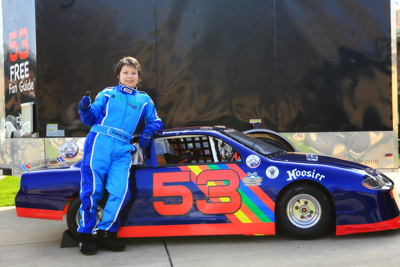 Zachary Tinkle leaning on the #53 minicup stock car