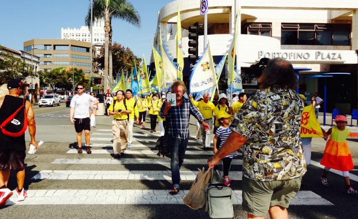 High There star Dave High leads Falun Gong parade in Santa Monica