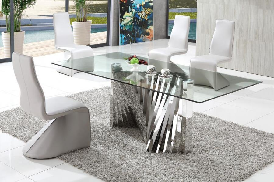 Plisset Glass Dining Table With Armani Dining Chairs