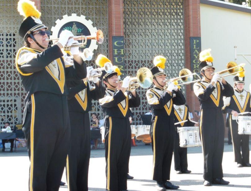 Elias Hosseini (far left) with the Bosco Tech band