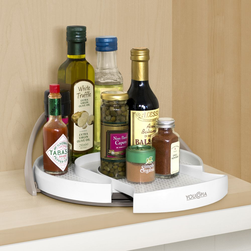 Crazy Susan Turntable organizes oils, vinegars, spices and more
