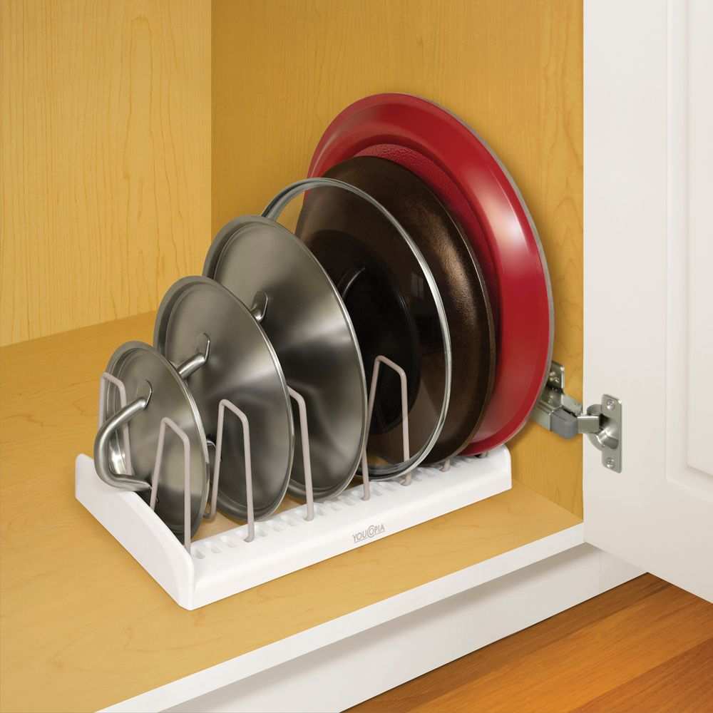 StoreMore Lid Holder maximizes vertical space in pantry or cabinet