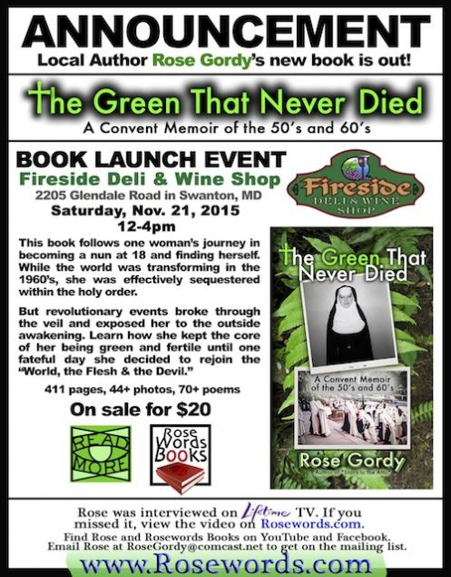 """Book Release Flyer - Rose Gordy's """"The Green That Never Died"""""""