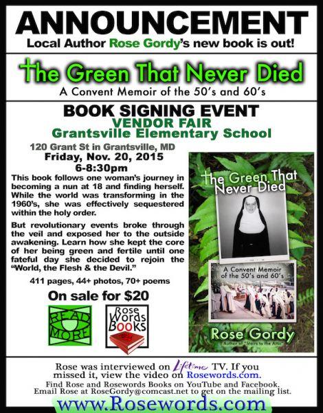 Rose Gordy's Flyer for the Vendor Fair in Grantsville, MD (Nov 20, 2015)