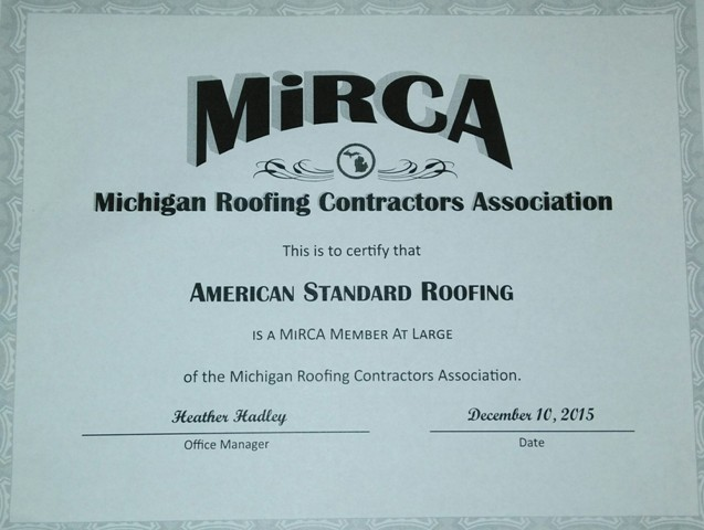 American Standard Roofing Gets Certified With Michigan