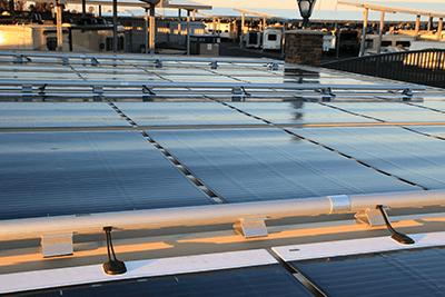 MiaSole Lightweight and Flexible solar modules on Baja Construction carport