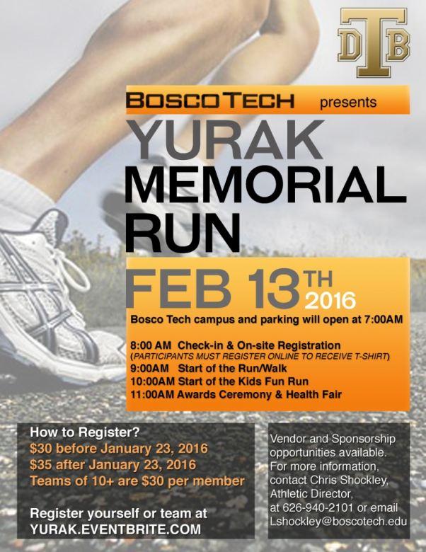 Bosco Tech Yurak Memorial Run is Feb. 13
