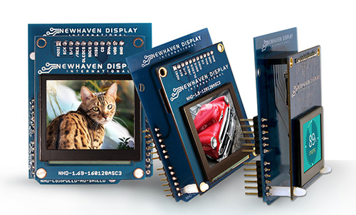 Newhaven Display Color OLED Arduino Shields in 3 sizes