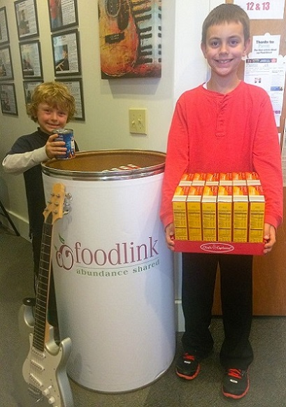 Academy students Carson & Jackson Wade  donated items to the Food Drive