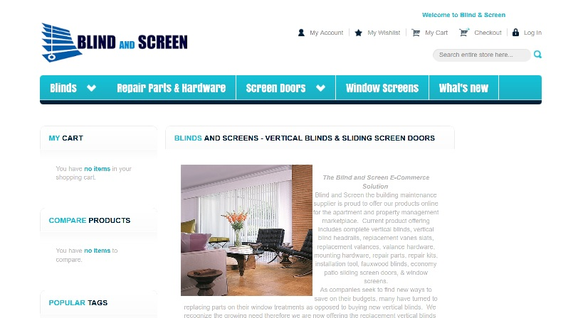 blindandscreen.com website snapshot