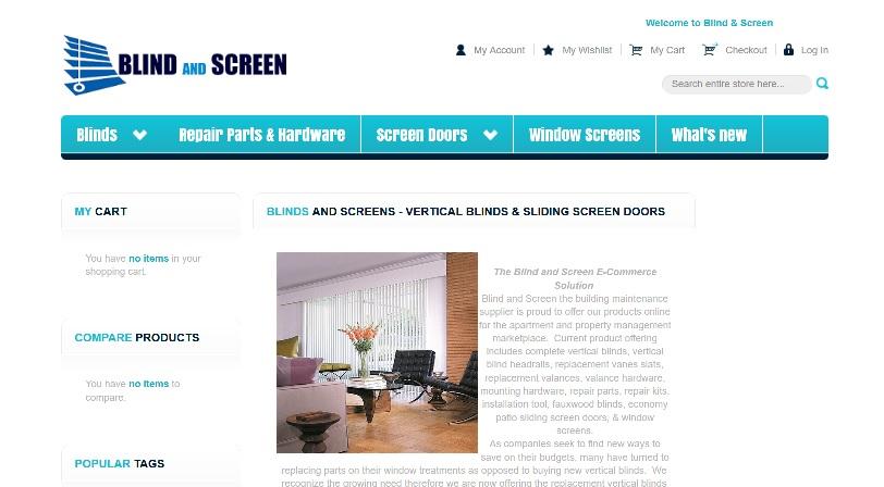blindandscreen.com website snapshot