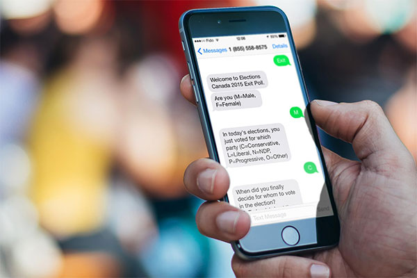 Customer answers a text message (SMS) survey with textLab Pro