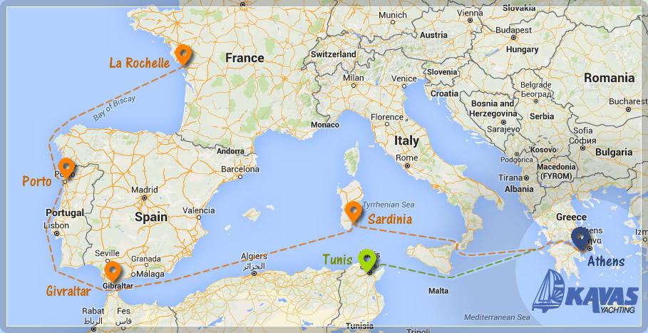 Map of La Rochelle or Tunisia catamaran trip to Greece