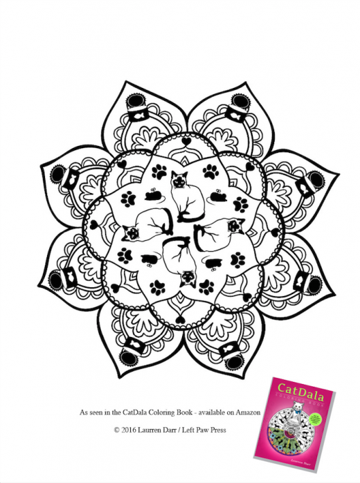 CatDala Coloring Book Cat Mandala Page