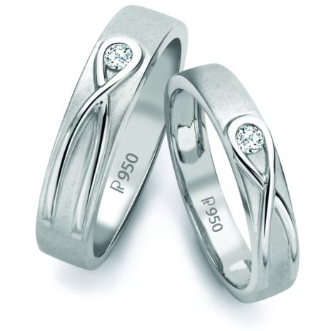 Infinity Knot Platinum Love Bands with Single Diamonds SJ PTO 115 by Jewelove