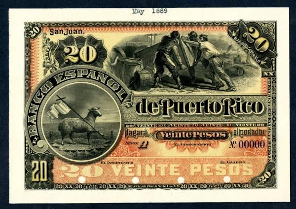 Banca Oriental De Puerto Rico:Banco Espanol de Puerto Rico, circa 1889-1890, 20 Peso proof banknote
