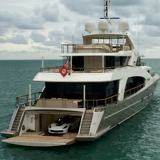 For The Car With A Boat Garage : Putting a corvette c on megayacht la pellegrina for miami
