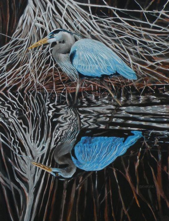 """Amy Bickford ~ """"Blue Heron"""" ~ Acrylic based Gouache 18"""" x 24"""""""