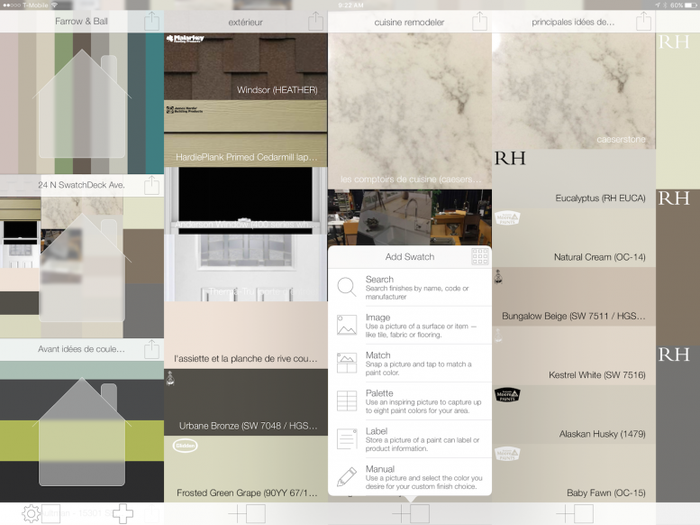 Create digital swatches of paint and materials in your home project