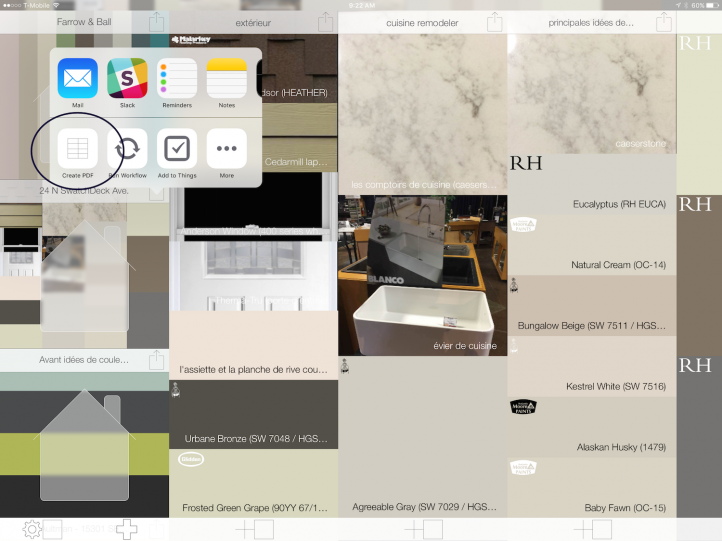 Create a PDF to order paint or finishes for your home projects