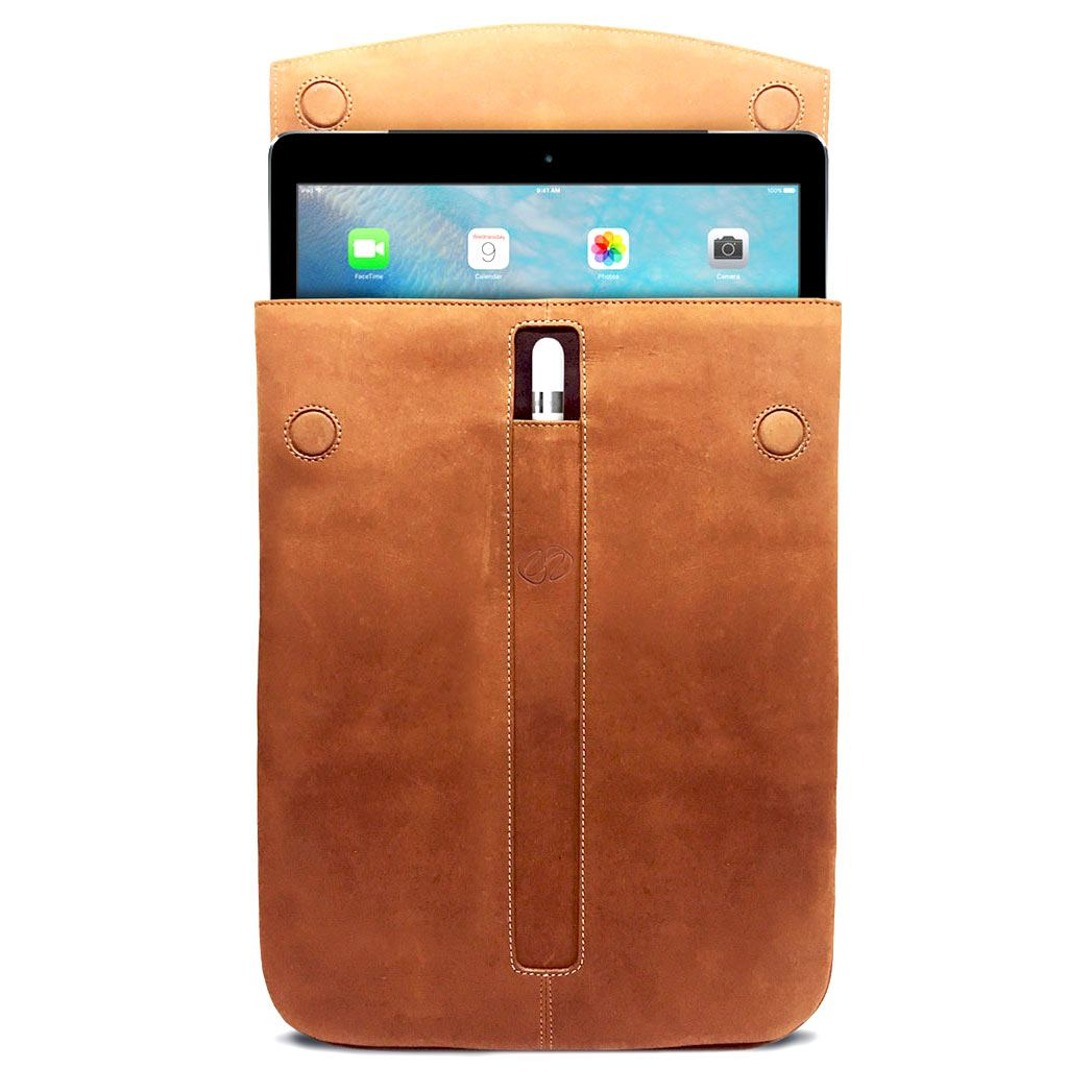 Open view of the new MacCase Premium Leather iPad Pro Sleeve