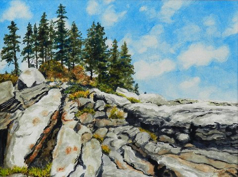 "Julianne Garvey ~ ""Reid State Park - Rocks"" ~ Watercolor on paper 18"" x 23"""