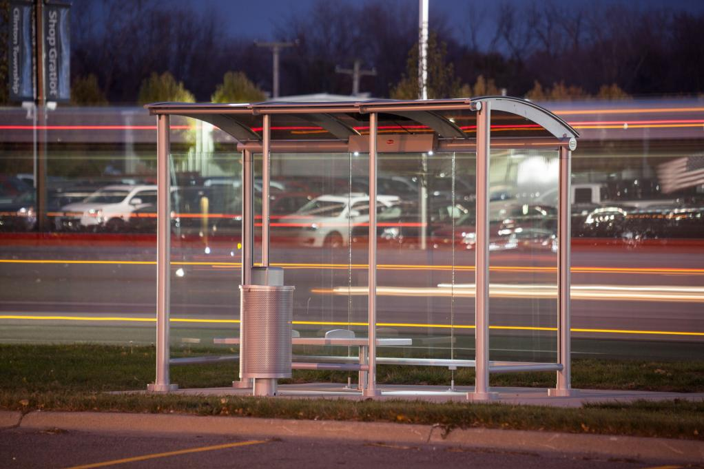 SMARTu0027s Eclipse model bus shelter with solar powered lighting package. & Detroit Area Bus Stops To See Solar Powered Usb Charging Ports By ...