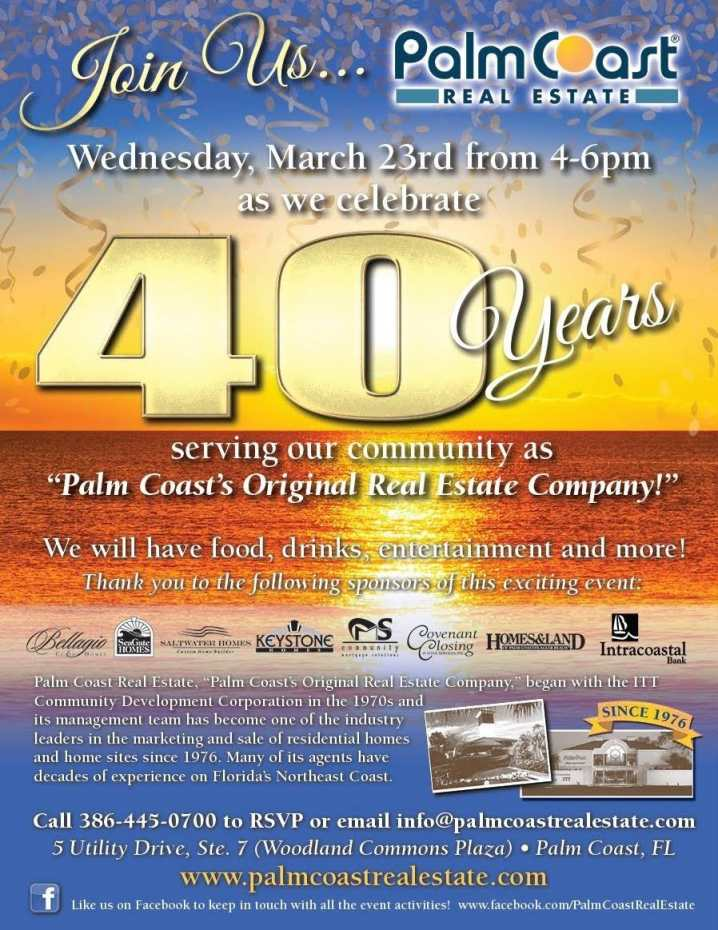 Palm Coast Real Estate is excited to be celebrating 40 years in Palm Coast!