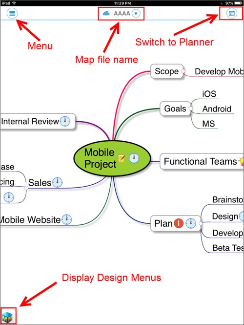 MindMapper for iOS Map Screen