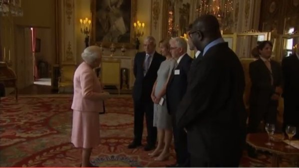 Welcomed to the Palace by HM Queen