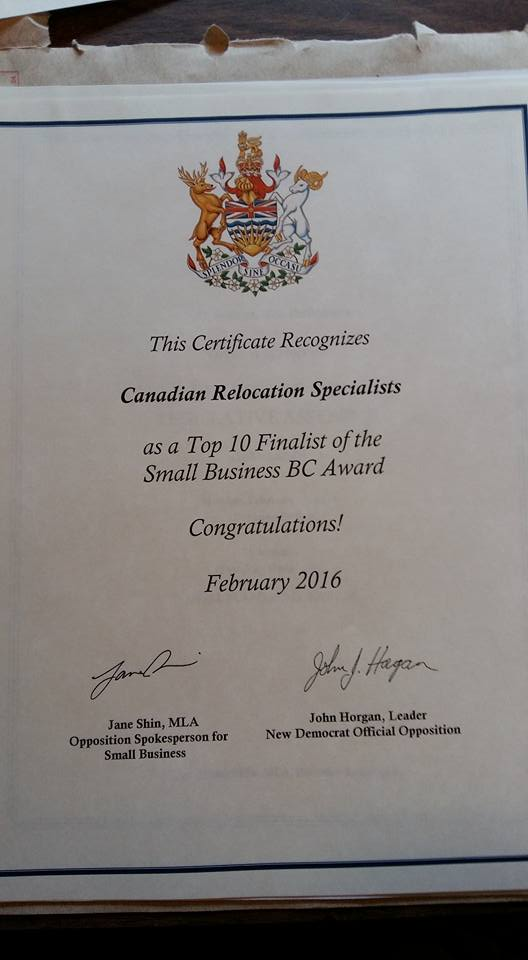 Province of British Columbia Recognizes Canadian Relocation Specialists