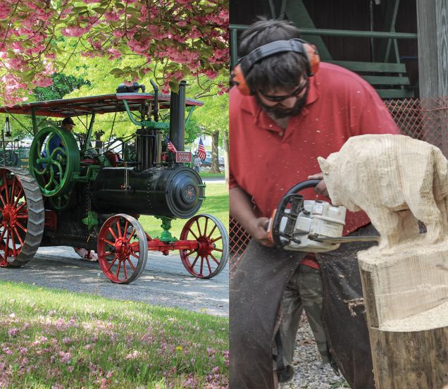 Watch live woodworking demonstrations and enjoy antique steam-powered tractors