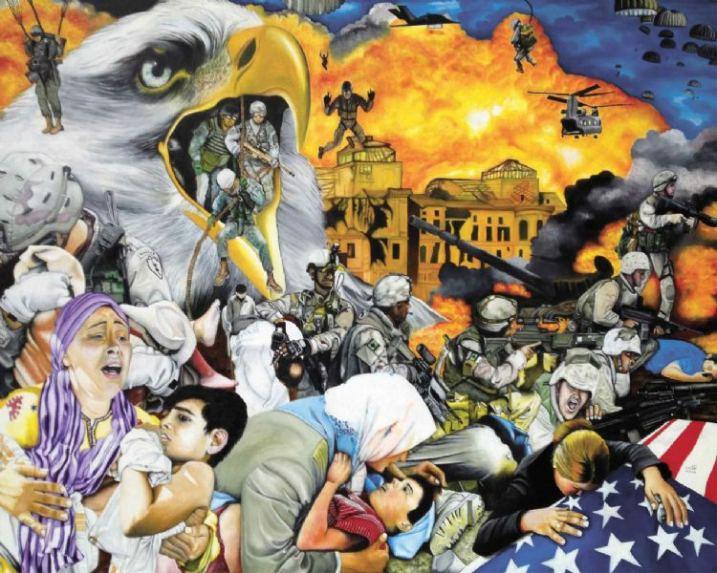 """O.Yemi Tubi, United Kingtom, """"Peace in Our Time-Eagle"""", Oil, 139cm x 177cm x 2cm"""