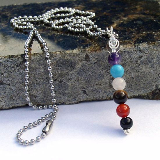 Seven Stone Wire Wrap Pendant Necklace made by Bead Lovers Korner