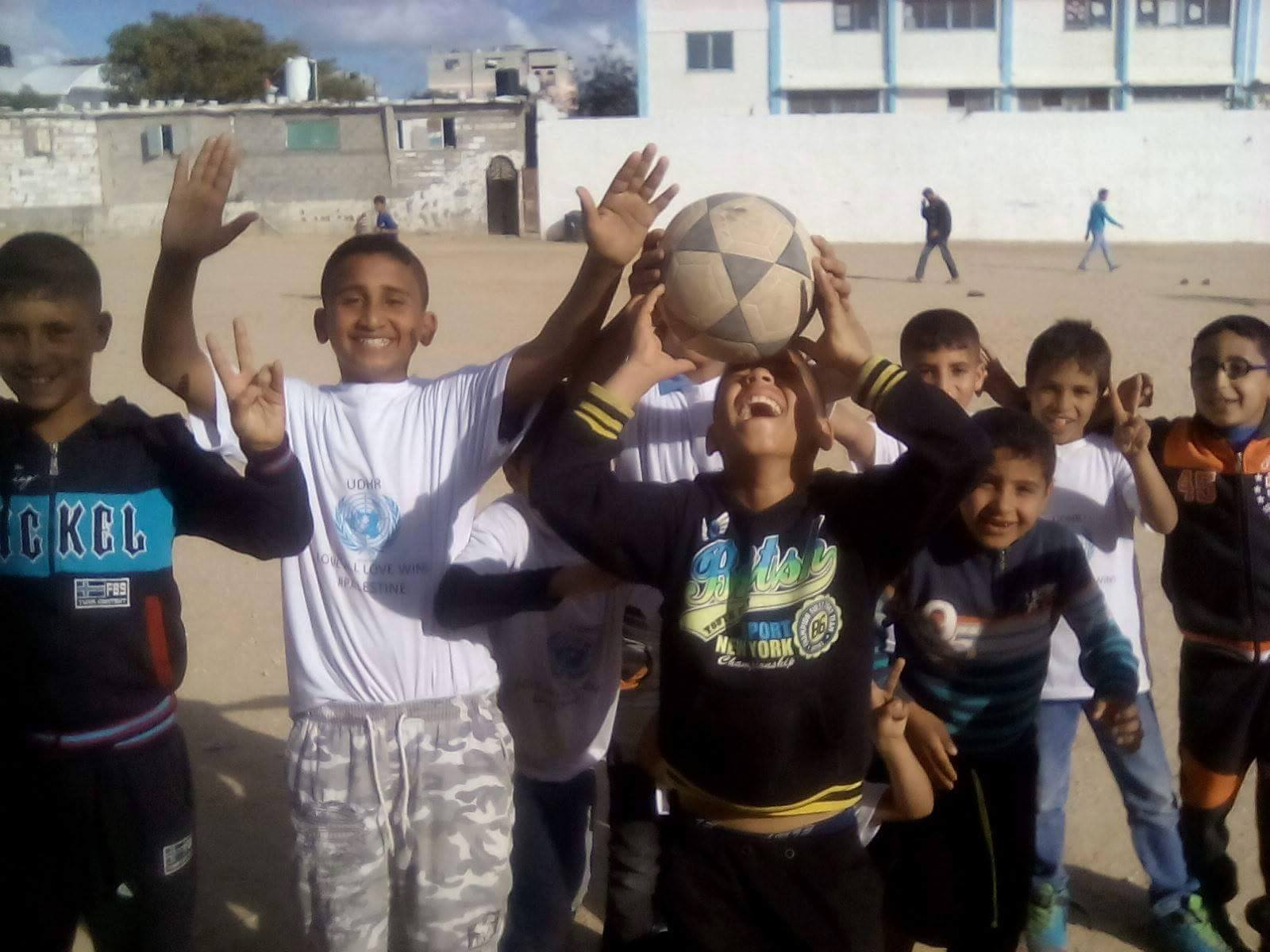 Palestinian children playing soccer