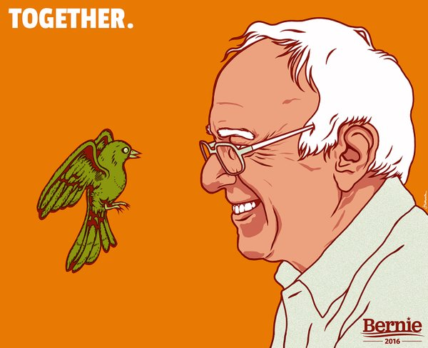 Bernie Sanders with symbolic bird on his podium he patiently did not shoo away!