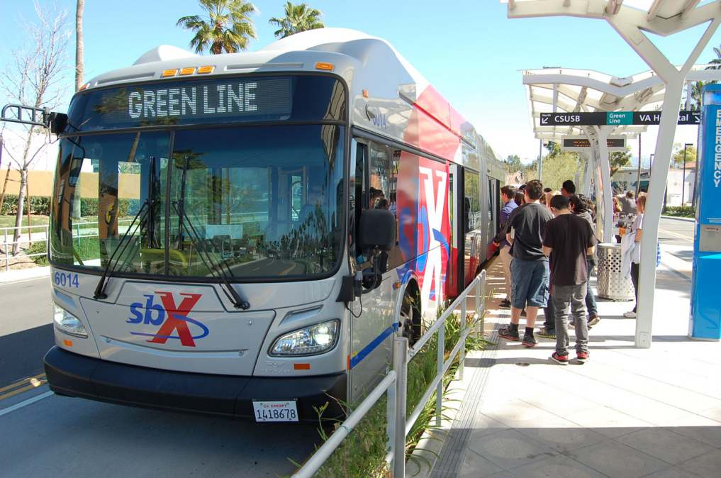 Omnitrans' sbX line and Route 2 serve the National Orange Show